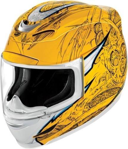 Мотошлем Icon Airmada Sportbike SB1, цвет: желтый. 0101. Размер S0101-6080Отличное сочетание функциональности и стиля. Этот шлем прекрасно подойдет как для городской езды, так и для спортивных заездов на треке. За основу взят литойполикарбонатный корпус. С точки зрения аэродинамики, посадки, вентиляции и комфорта – это совершенно новая модель шлема. Вентиляция так же была улучшена. Теперь у нас 7 каналов для впуска свежего воздуха, и 6 портов для выпуска. Как и в предыдущих моделях, мы имеем каналы в ротовой области, а так же два боковых порта, которые регулируются в нескольких положениях с внутренней стороны шлема. Выше имеется десятимиллиметровый двойной канал, который, как и прежде удобно контролировать – в закрытом или открытом положении. И одна из новинок находится поблизости – двойной регулировочный порт, который в дополнение ко всем предыдущим, направляет потоки свежего непосредственно на лобную часть водителя. Соответственно, горячий воздух выходит через задние порты - два сверху, два по бокам и два с нижней стороны. Еще одним нововведением является...