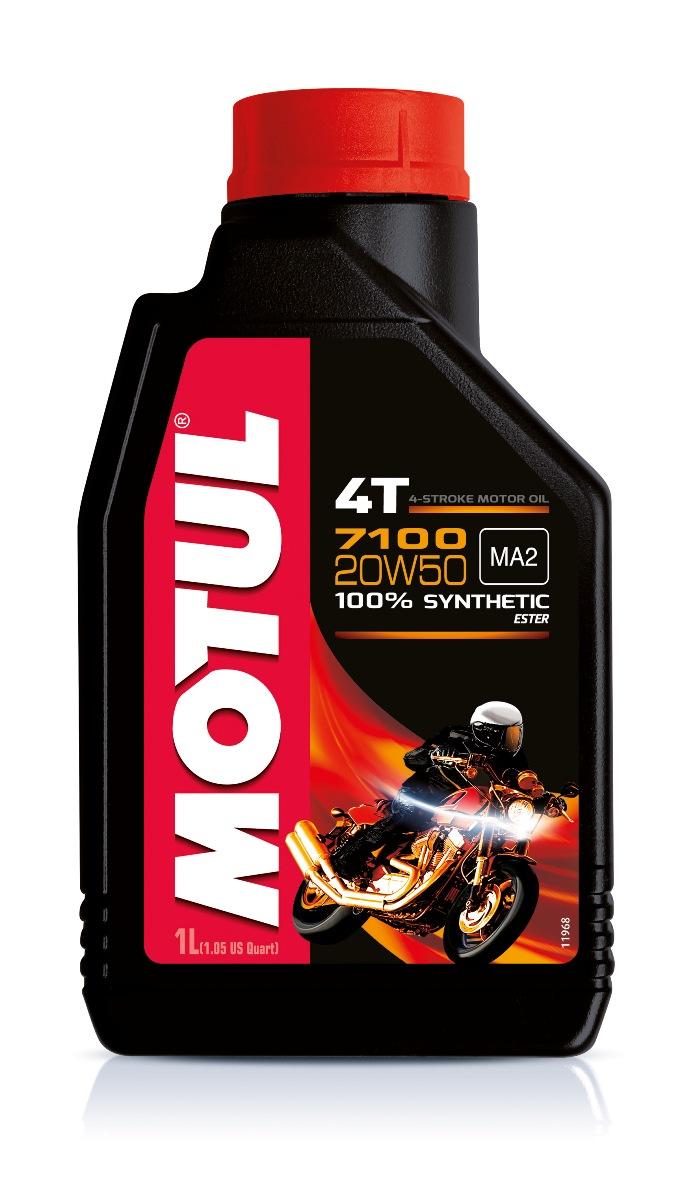 Масло моторное Motul 7100 4T, синтетическое, 20W-50, 1 л104103100% синтетическое моторное масло для 4-х тактных мотоциклов. Создано по технологии сложных эфиров (эстеров). Разработано для 2-х цилиндровых двигателей. Соответствует требованиям Harley-Davidson . Превосходная стойкость масляной пленки обеспечивает защиту двигателя и коробки переключения передач, а также плавное переключение. Соответствует требованиям Jaso Ma2, что обеспечивает четкость работы сцепления в масляной ванне. Совместимо с системами нейтрализации отработавших газов. API Стандарты: API SG/SH/SJ/SL/SM/SN JASO Стандарты: JASO MA2 M033MOT120