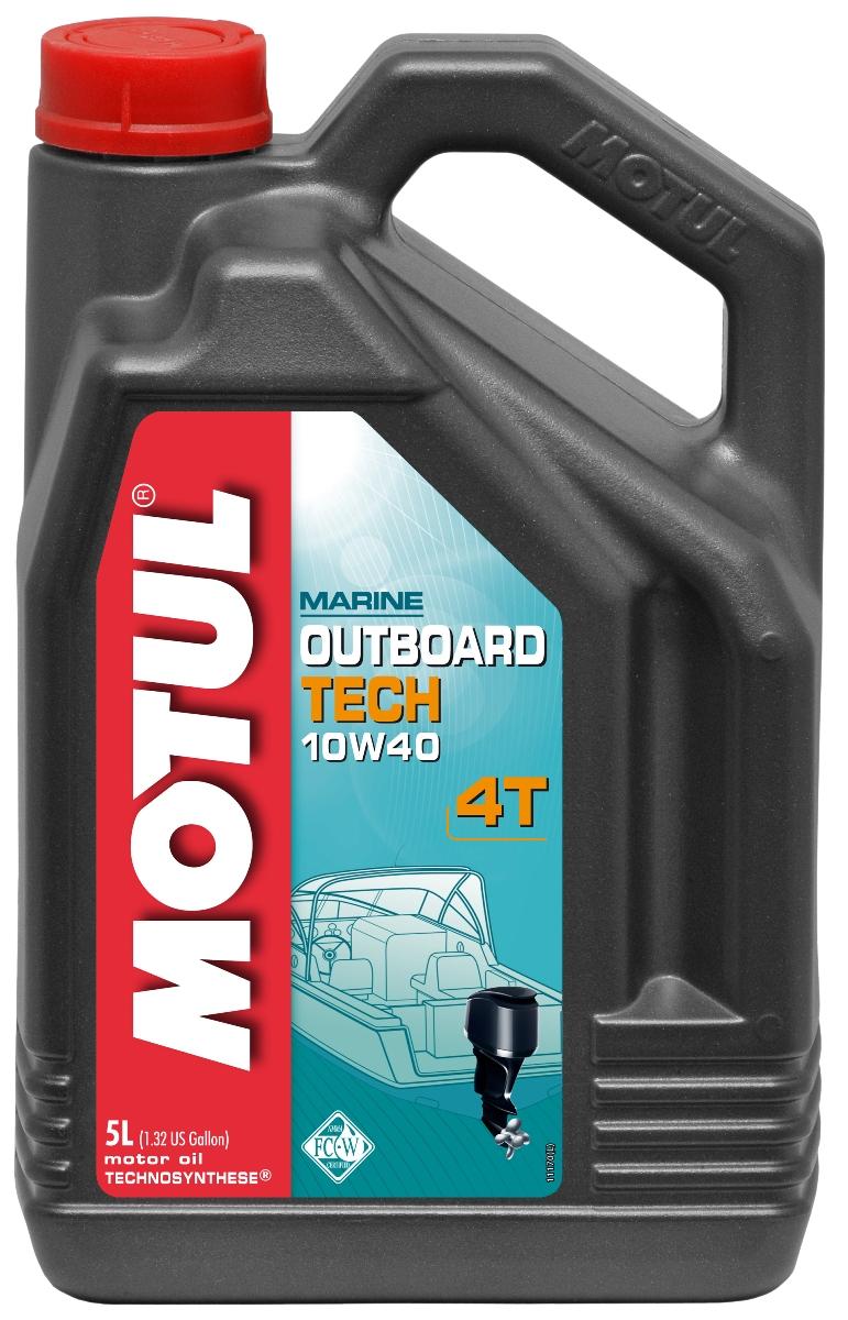 Масло моторное Motul Outboard Tech 4T. Technosynthese, 5 л106354Моторное масло для 4-х тактных подвесных и кормовых бензиновых двигателей водной техники. Специально создано по технологии Technosynthese для таких производителей как: Bombardier, Honda, Mariner, Mercury, Selva, Suzuki, Tohatsu, Yamaha. API Стандарты: API SJ/SG MARINE Стандарты: NMMA FC-W FB-23656K
