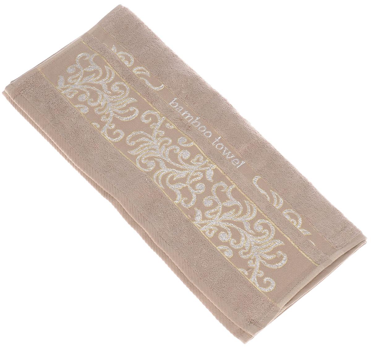 Полотенце Brielle Bamboo. Jacquard, цвет: мокко, 50 см х 90 см1212Полотенце Brielle Bamboo. Jacquard выполнено из бамбука с содержанием хлопка. Изделие очень мягкое, оно отлично впитывает влагу, быстро сохнет, сохраняет яркость цвета и не теряет формы даже после многократных стирок. Модель оформлена узорным рисунком и надписью. Полотенце Brielle Bamboo. Jacquard очень практично и неприхотливо в уходе. Такое полотенце послужит приятным подарком.