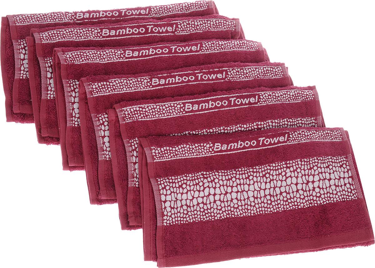 Набор полотенец Brielle Bamboo. Crocodile, цвет: бургунди, 30 х 50 см, 6 шт1211Полотенца ТАС Приятно удивляют и дают возможность почувствовать себя творцом окружающего декора. Махровая ткань – официальное название «фроте», народное – «махра». Фроте – это натуральная ткань, поверхность которой состоит из ворса (петель основных нитей). Ворс может быть как одинарным (односторонним), так и двойным (двусторонним).