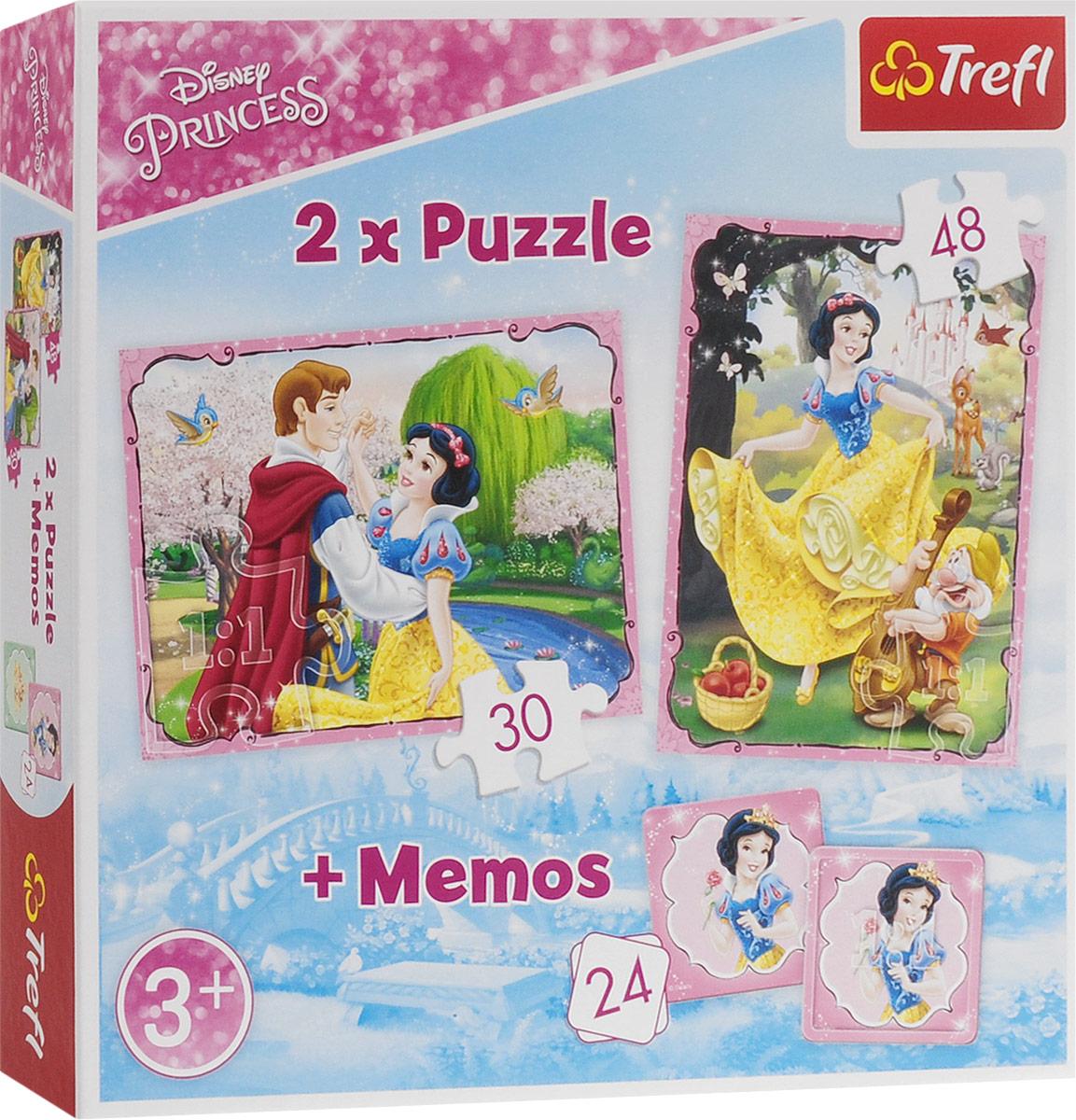 Trefl Пазл для малышей Влюбленная Белоснежка 2 в 1 + 24 карточки мемори 90603