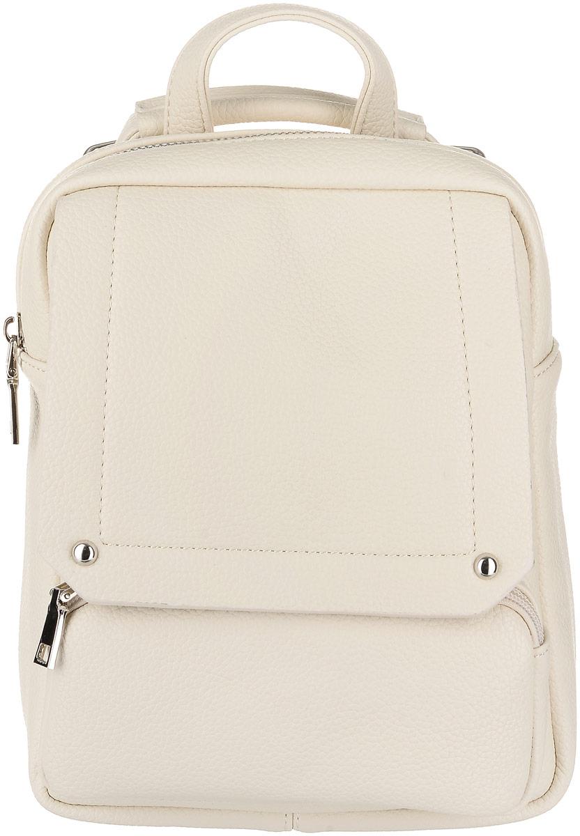Рюкзак женский OrsOro, цвет: молочный. D-042/2D-042/2Рюкзак OrsOro выполнен из высококачественной искусственной кожи зернистой текстуры. Изделие оснащено двумя ручками для переноски и подвешивания. Также сумка имеет удобные лямки, длину которых можно изменять с помощью пряжек. На лицевой стороне расположен один небольшой объемный карман на молнии и вшитый карман на молнии под клапаном с магнитной кнопкой. На тыльной стороне расположен вшитый карман на молнии. Изделие закрывается с помощью молнии. Внутри расположено главное отделение, которое содержит один небольшой карман на молнии и один открытый карман для мелочей.