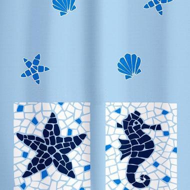 Шторка для ванной Tatkraft Морские мотивы, цвет: белый, голубой, 180 х 180 см14435Шторка для ванной Tatkraft Морские мотивы, изготовленная из полиэстера со специальной водоотталкивающей пропиткой, оформлена рисунком на морскую тематику. Имеет антигрибковое покрытие. Шторка быстро сохнет, легко моется и обладает повышенной износостойкостью. В комплекте также имеется 12 овальных колец из пластика. Шторка оснащена двумя магнитами по углам для лучшей фиксации. Мягкая и приятная на ощупь шторка для ванной Tatkraft Морские мотивы порадует вас своим ярким дизайном и добавит уюта в ванную комнату. Характеристики: Материал: 100% полиэстер. Цвет: белый, голубой. Размер шторки (Ш х В): 180 см х 180 см. Количество колец: 12 шт.