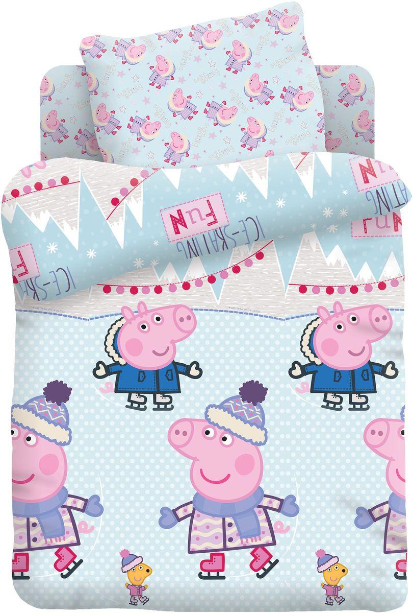 Комплект детского постельного белья Свинка Пеппа Джордж и Пеппа на коньках, 1,5-спальный, наволочки 70х70397984