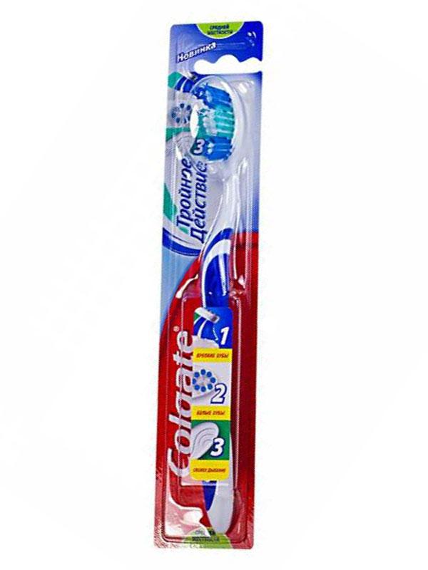 Colgate Зубная щетка Тройное действие средняя цвет синийFCN21589/FCN21589_синийColgate Зубная щетка Тройное действие средняя цвет синий