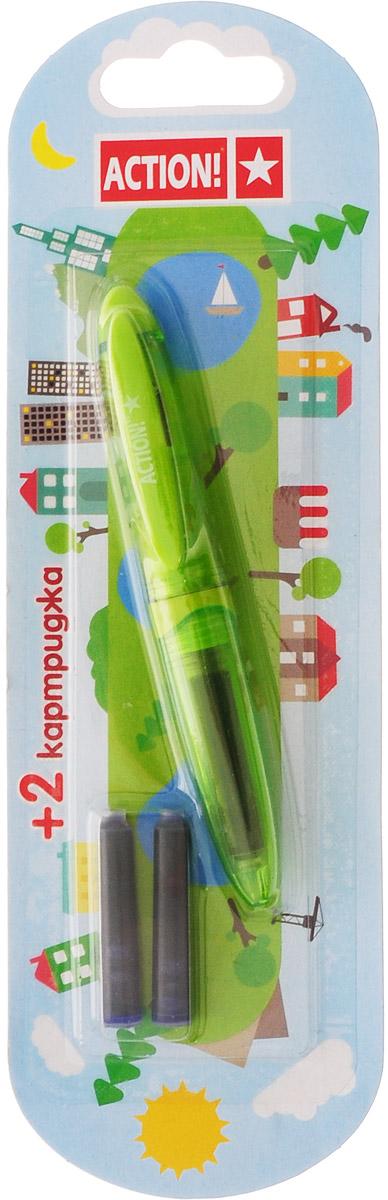Action! Ручка перьевая с двумя картриджами цвет корпуса зеленый AFP103772523WDПерьевая ручка, несомненно, заинтересует ребенка, мечтающего о взрослых предметах письма, а также поможет выработать навыки каллиграфии и исправить хромающий почерк.Перьевая ручка Action! с запасными картриджами отличается от взрослых ручек широким пластиковым корпусом, эргономичной зоной гриппа. В комплекте три чернильных картриджа - один в ручке и два запасных в блистерном отсеке.