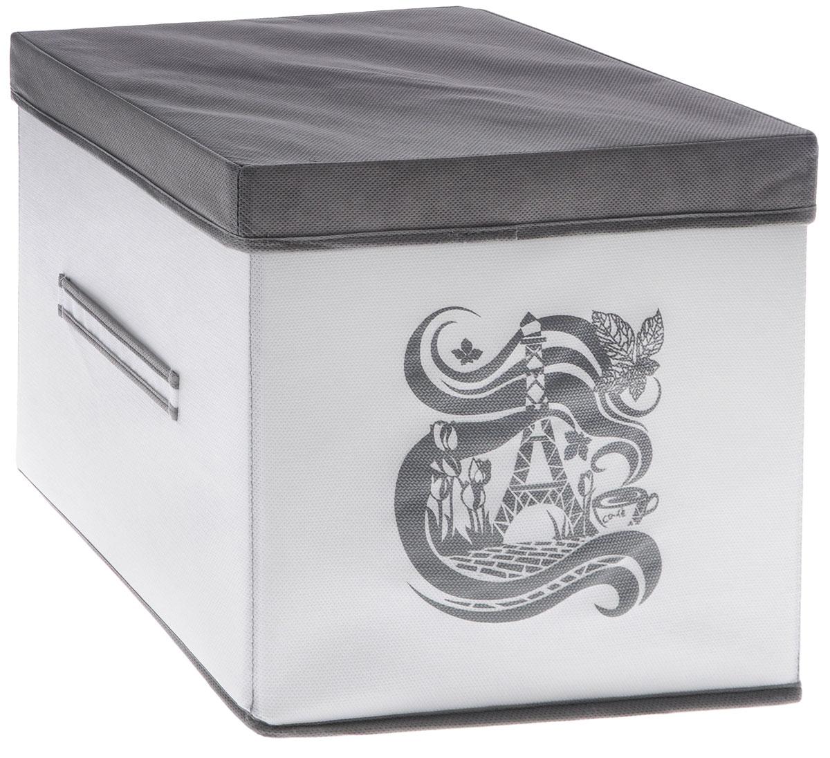 Коробка для вещей Все на местах Вечер в Париже, с крышкой, цвет: серый, белый, 30 х 30 х 30 см1003036.
