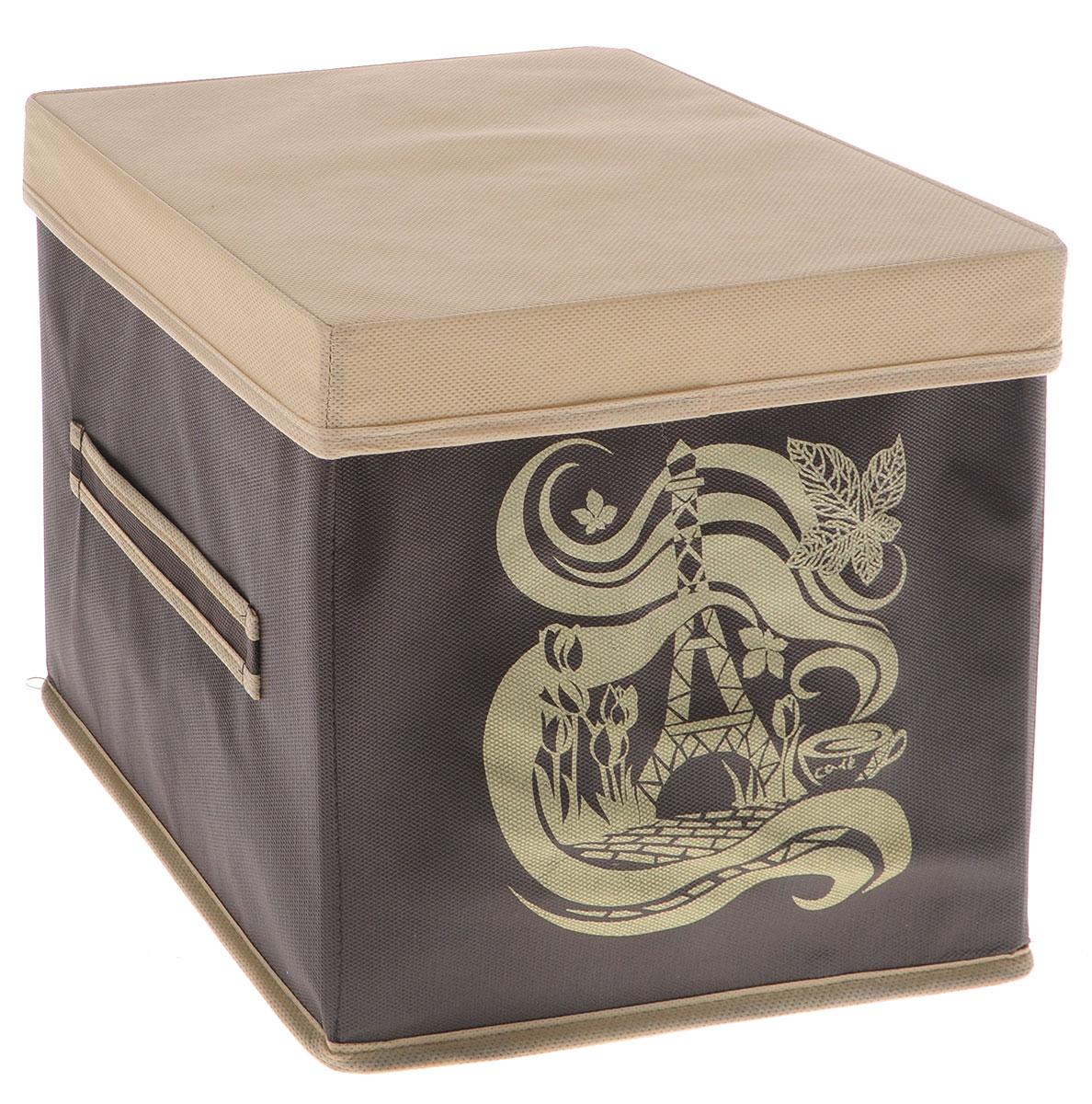 Коробка для вещей Все на местах Париж, с крышкой, цвет: темно-коричневый, бежевый, 25 х 25 х 25 см1002054Коробка с крышкой Все на местах выполнена из высококачественного нетканого материала, который обеспечивает естественную вентиляцию и предназначен для хранения вещей или игрушек. Он защитит вещи от повреждений, пыли, влаги и загрязнений во время хранения и транспортировки. Размер коробки: 25 х 25 х 25 см.