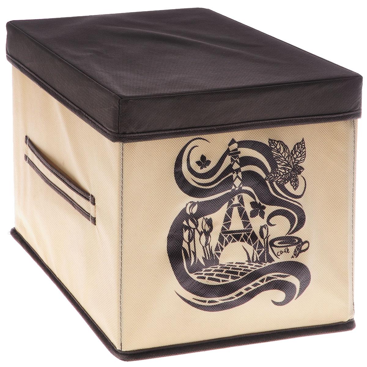 Коробка для вещей Все на местах Париж, с крышкой, цвет: коричневый, бежевый, 25 х 25 х 25 смUP210DFКоробка с крышкой Все на местах выполнена из высококачественного нетканого материала, который обеспечивает естественную вентиляцию и предназначен для хранения вещей или игрушек. Он защитит вещи от повреждений, пыли, влаги и загрязнений во время хранения и транспортировки. Размер коробки: 25 х 25 х 25 см.