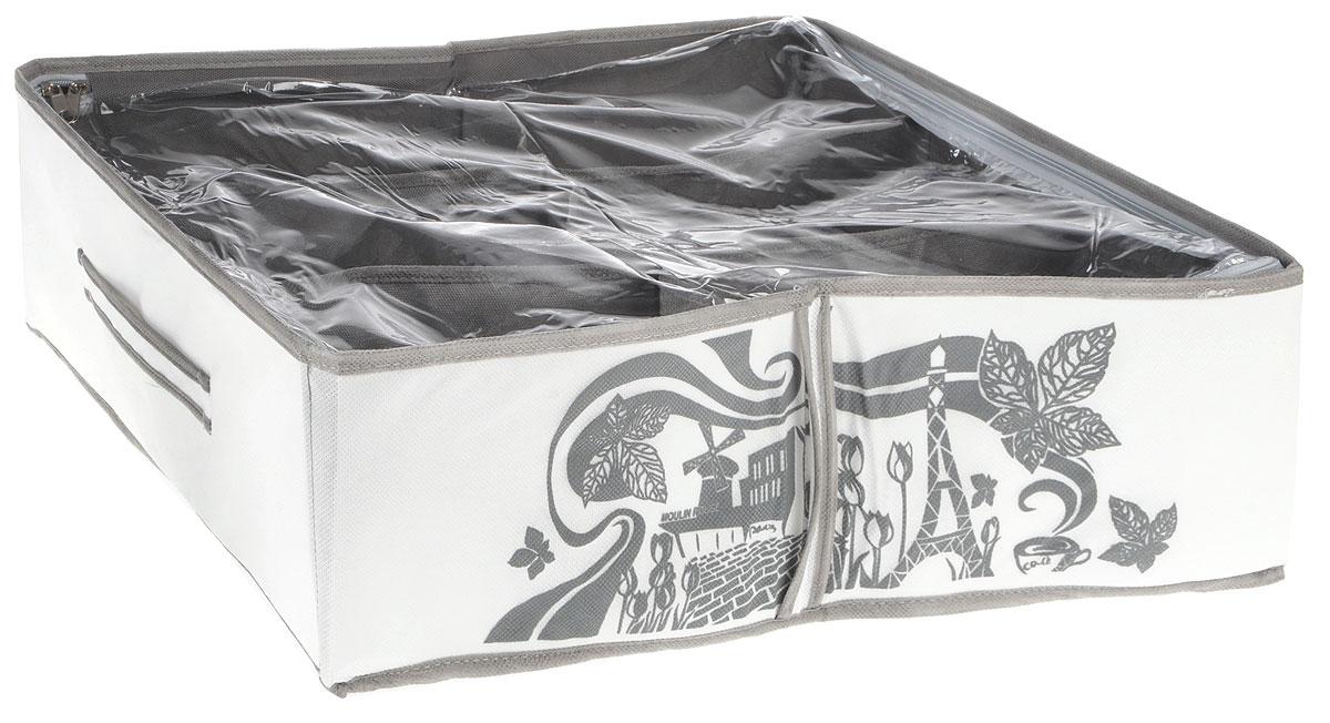 Кофр для обуви Все на местах Париж, цвет: серый, белый, 6 секций, 53 x 40 x 15 см1003004Компактный складной органайзер с прозрачной крышкой из высококачественного нетканого материала, который обеспечивает естественную вентиляцию. Материал позволяет воздуху свободно проникать внутрь, но не пропускает пыль. Органайзер отлично держит форму, благодаря вставкам из ПВХ. Изделие имеет 6 секций для хранения обуви. Такой органайзер позволит вам хранить обувь компактно и удобно. Размер секции: 23 х 13 см.