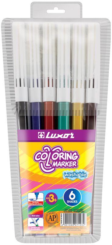 Luxor Набор фломастеров Coloring 6 цветов72523WDЯркий и практичный набор фломастеров Luxor Coloringс продуманной палитрой цветов, непременно понравится вашему юному художнику. Нетоксичные смываемые фломастеры имеют вентилируемый колпачок. Корпус из пластика предохраняет чернила от преждевременного высыхания, гарантирует длительный срок службы.Набор содержит 6 фломастеров различных цветов.Уважаемые клиенты!Обращаем ваше внимание на возможные изменения в дизайне упаковки. Качественные характеристики товара остаются неизменными. Поставка осуществляется в зависимости от наличия на складе.