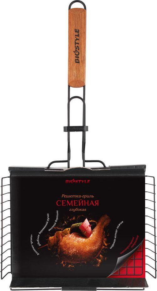 Решетка-гриль Biostyle Семейная, с антипригарным покрытием, 28 х 22,2 см101-205Глубокая решетка-гриль с регулируемым объемом позволяет запекать на углях овощи, мясо и рыбу разной толщины, высота ее варьируется от 0.5 до 4.5 см. Благодаря высококачественному антипригарному покрытию пища не прилипает к прутьям решётки, после использования ее достаточно протереть влажной салфеткой. Толщина прута 2 мм.