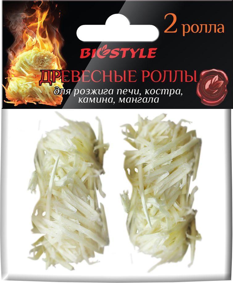 Древесные роллы для розжига Biostyle, 2 шт101-408Древесные роллы для розжига печи, костра, камина, мангалов Biostyle 2 шт. в упаковке. Время горения 8 минут. Древесная стружка пропитанная парафином.