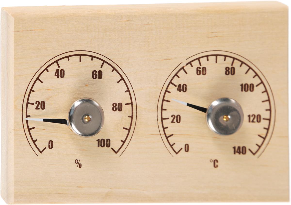 Банная станция Proffi Sauna: термометр, гигрометр531-401Банная станция Proffi Sauna поможет вам избежать превышения температуры, которая может ухудшить ваше самочувствие. Станция включает в себя термометр и гигрометр. Изделие выполнено в виде деревянной основы, металла и полипропилена. Максимальная измеряемая температура у термометра -120°С. Максимальная измеряемая влажность у гигрометра -100%.Благодаря банной станции, вы сможете контролировать температуру и безгранично отдаться отдыху.
