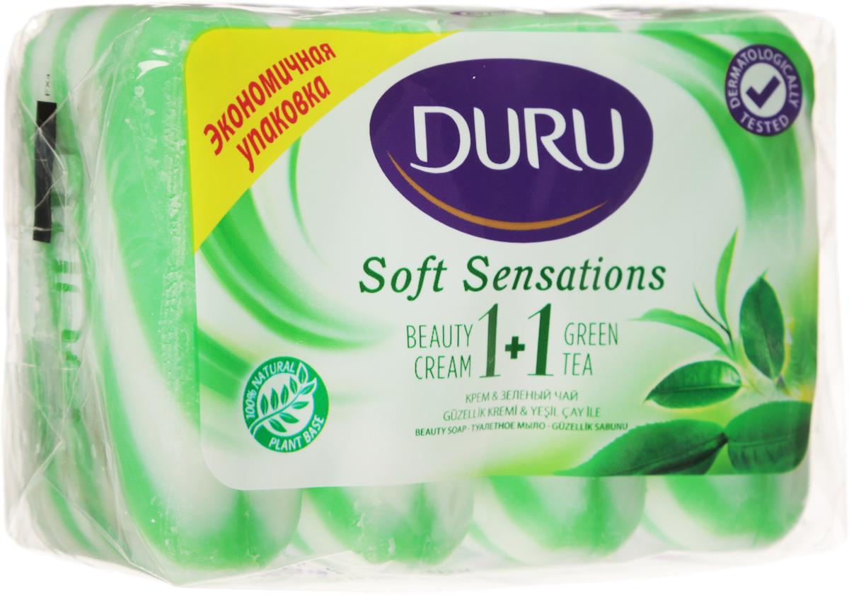 Duru Мыло 1+1 Зеленый чай 4*90г*800274802Оригинальное полосатое мыло с натуральными экстрактами и увлажняющим кремом бережно очищает Вашу кожу и придает ей мягкость и свежесть
