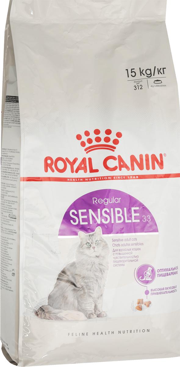 Корм сухой Royal Canin Sensible 33, для кошек с чувствительной пищеварительной системой, 15 кг0120710Сухой корм Royal Canin Sensible 33 - полнорационный корм для кошек с чувствительной пищеварительной системой, рекомендуемый для кошек старше 1 года. Некоторые кошки отличаются особой предрасположенностью к расстройствам пищеварения. Непривычный корм, стресс и другие факторы способны спровоцировать у них диарею и/или рвоту.Иногда расстройства пищеварения у кошек могут возникать даже без видимой причины. Легко усвояемый рацион поможет смягчить подобные проявления. Специально разработанный состав корма Sensible 33 помогает обеспечить нормальную работу пищеварительной системы вашей кошки.Оптимальный баланс кишечной микрофлоры также способствует хорошему пищеварению, обеспечивая комфорт вашей кошки. Защита пищеварительной системы.Кошкам с чувствительной пищеварительной системой необходим рацион, обеспечивающий оптимальное пищеварение. Эффективная защита достигается благодаря входящему в состав корма эксклюзивному комплексу питательных веществ, способствующих улучшению процессов пищеварения. Гарантирует эффективную защиту пищеварительной системы кошки благодаря использованию в корме только легкоусвояемых белков L.I.P., снижающих количество непереваренных остатков пищи в кишечнике, высокому содержанию риса, присутствию фруктоолигосахаридов и свекольного жома. Поддерживает баланс кишечной микрофлоры за счет содержания в корме фруктоолигосахаридов и свекольного жома. Состав: дегидратированные белки животного происхождения (птица), рис, животные жиры, кукуруза, изолят растительных белков L.I.P., дегидратированные белки свинины L.I.P., дегидратированные белки животного происхождения (свинина) L.I.P., гидролизат белков животного происхождения, пшеница, кукурузная клейковина, дрожжи, рыбий жир, свекольный жом, минеральные вещества, соевое масло, растительная клетчатка, фруктоолигосахариды. Добавки (в 1 кг): медь — 21 мг,железо — 197 мг,марганец — 66 мг/кг,цинк — 209 мг,селен — 0,