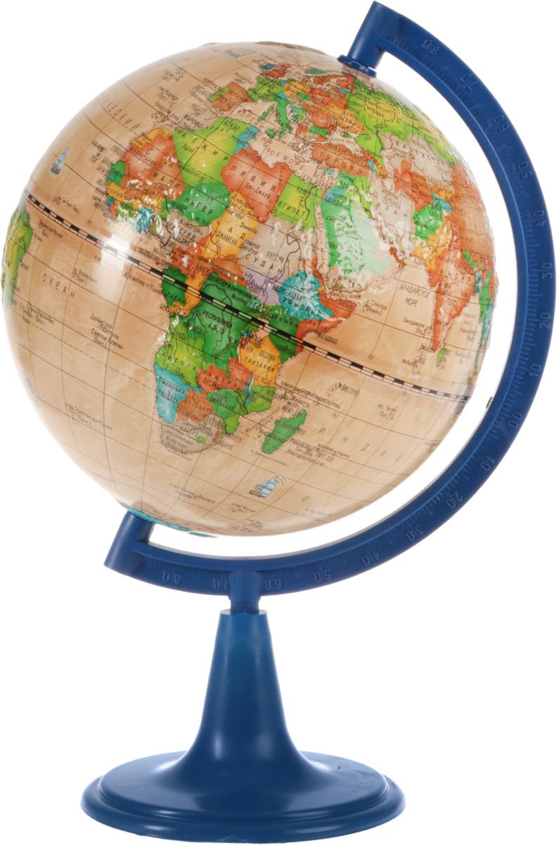 Глобусный мир Глобус политический рельефный Ретро-Александр диаметр 15 см10339Глобус Ретро-Александр с политической картой мира, изготовленный из высококачественного прочного пластика, показывает страны мира, границы того или иного государства, расположение столиц государств, городов и населенных пунктов. Изделие расположено на синий пластиковой подставке. На глобусе отображены картографические линии: параллели и меридианы, а также градусы и условные обозначения. Все страны мира раскрашены в разные цвета. Модель имеет рельефную выпуклую поверхность, что, в свою очередь, делает глобус особенно интересным для детей младшего школьного возраста. Названия стран на глобусе приведены на русском языке. Глобус с политической картой мира станет незаменимым атрибутом обучения не только школьника, но и студента. Настольный глобус Ретро-Александр станет оригинальным украшением рабочего стола. Масштаб: 1:84 000 000.