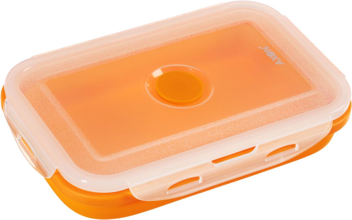 Контейнер для еды складной Axon, цвет: оранжевый, прозрачный, 19 х 12,5 х 7 смVC-203Складной силиконовый контейнер Axon для еды станет вашим надежным помощником на кухне. Контейнер абсолютно герметичен. Пластиковая крышка оснащена четырьмя специальными защелками и выпускным клапаном. Силикон не впитывает запахи. Используйте контейнер для хранения и транспортировки любых пищевых продуктов: салатов, овощей, фруктов, соусов, мясных и рыбных блюд. Контейнер позволяет разогревать продукты в микроволновке, но без крышки, и замораживать в морозилке. После использования контейнер можно просто сложить, он становится в два раза меньше по высоте. Можно мыть в посудомоечной машине. Размер в разложенном виде (с учетом крышки): 19 х 12,5 х 7 см. Размер в сложенном виде (с учетом крышки): 19 х 12,5 х 3,5 см.