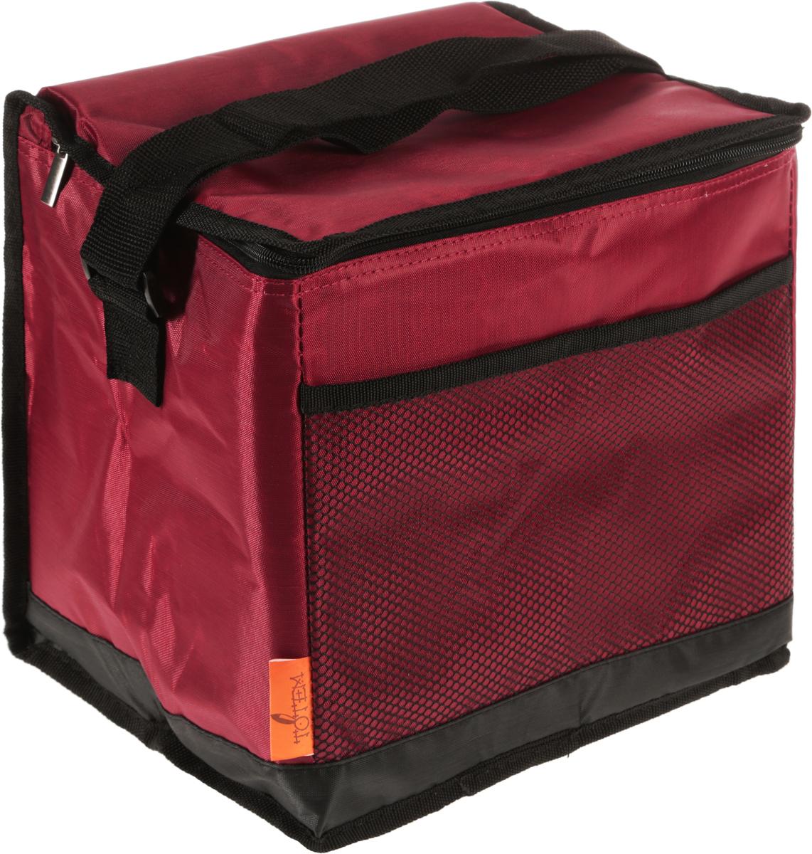 Термосумка Тотеm, цвет: бордовый, черный, 15 лTTA-059Термосумка Totem изготовлена из прочного полиэстера, внутренний изоляционный материал (EPE и PEVA) позволяет сохранять содержимое сумки свежим. Сумка закрывается на молнию, снабжена регулируемым по длине ремнем для переноски. Спереди имеется сетчатый карман. Применяемые в изготовлении термосумки материалы и технологии позволяют сохранять продукты глубокой заморозки, а также холодными напитки. Для наиболее продолжительного эффекта рекомендуется использовать хладоэлементы. Термосумка также прекрасно подходит и для перевозки горячих блюд. Время сохранения температуры без хладоэлементов: 6 ч. Время сохранения температуры с хладоэлементами: 12 ч.