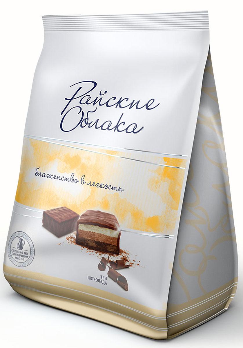 Райские Облака конфеты суфле три шоколада, 200 г0120710Конфеты Райские облака - это нежнейшее суфле в шоколадной глазури. Конфеты изготавливаются из натурального сливочного масла и высококачественного сгущенного молока, которые и создают вкус настоящего суфле.