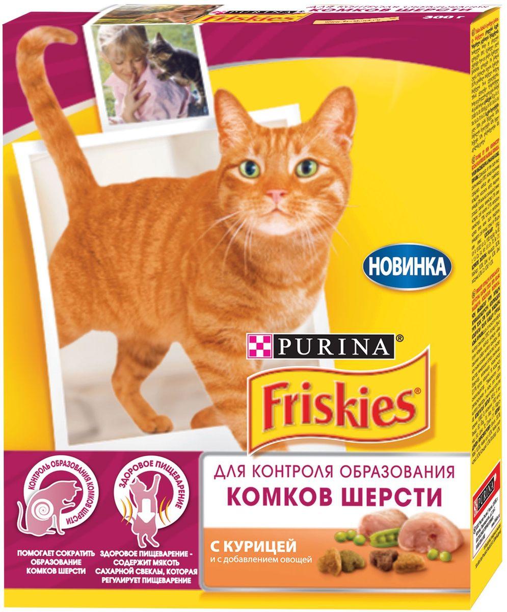 """Корм сухой """"Friskies"""" для взрослых кошек, для контроля образования комков шерсти, с курицей о с добавлением овощей, 300 г 59987"""