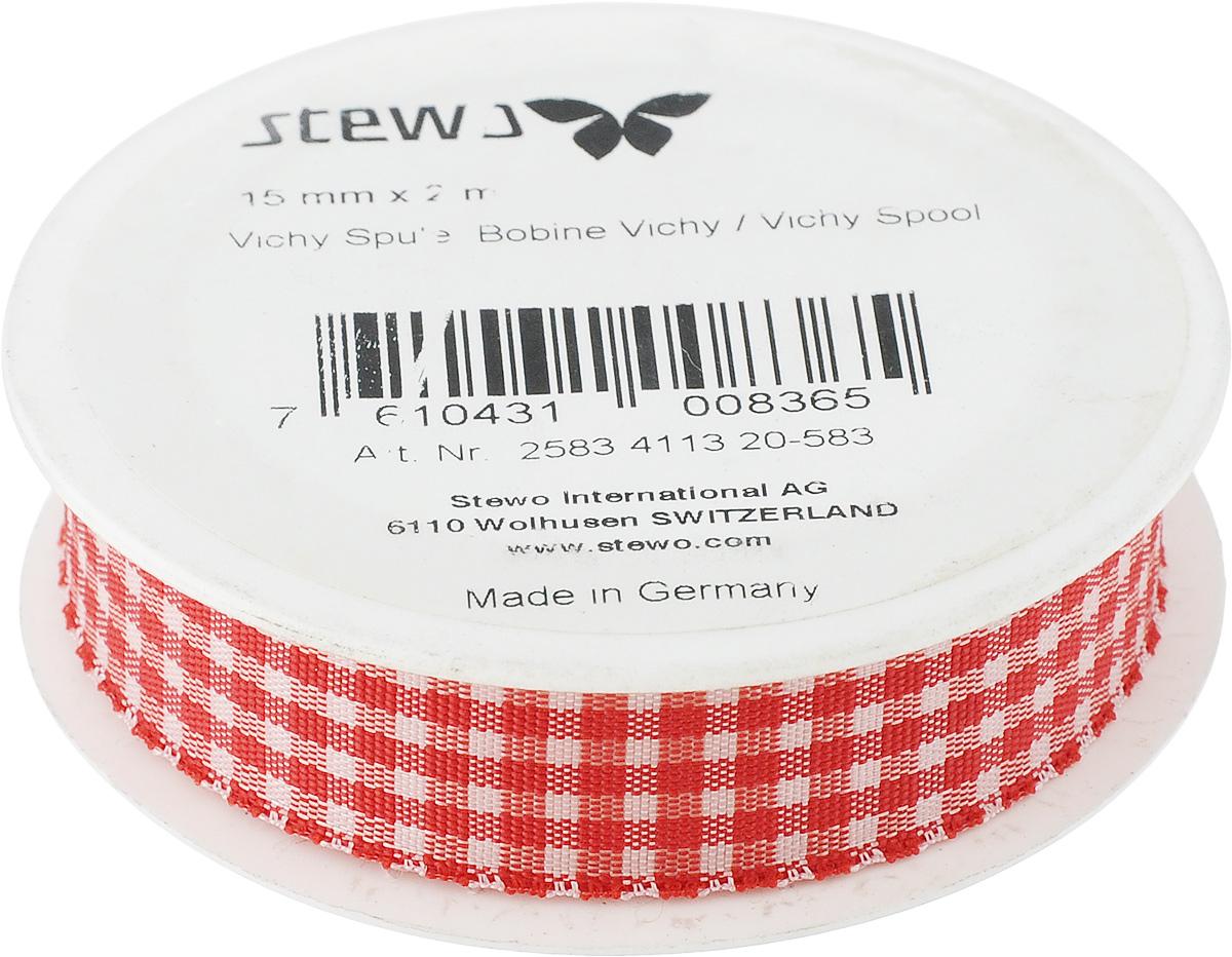 Лента Stewo, цвет: красный, 1,5 см х 2 м834113-20\STWДекоративная лента Stewo изготовлена из качественного текстиля. Отлично подойдет для флористики, декорирования и украшения подарков. Ее также можно использовать для творчества в различных техниках, таких как скрапбукинг. Ширина ленты: 1,5 см. Длина ленты: 2 м.