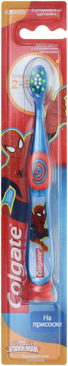 Colgate Зубная щетка Spiderman, детская, супермягкая, от 2 до 5 лет, цвет: синий, красныйFCN21742_синий, красный/новый дизайн