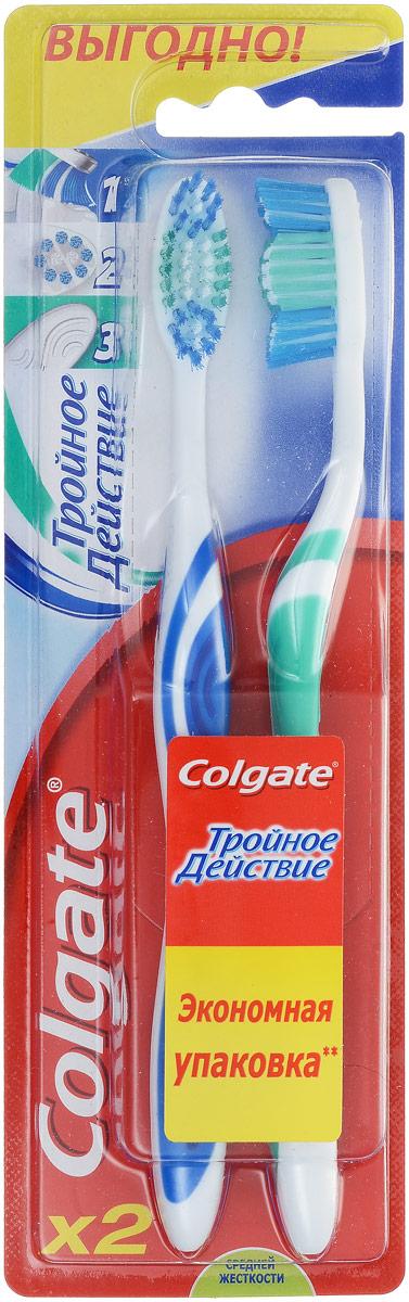 Colgate Зубная щетка Тройное действие, средняя жесткость, цвет: белый, синий, зеленый, 2 шт4605845001470Colgate Тройное действие - зубная щетка средней жесткости. Щетинки всесторонней чистки способствуют бережному очищению зубного налета, возвращая зубам естественную белизну. Поверхность для чистки языка обеспечивает свежее дыхание.Эргономичная рифленая ручка не скользит в ладони, амортизирует давление руки на нежную поверхность десен. Товар сертифицирован.