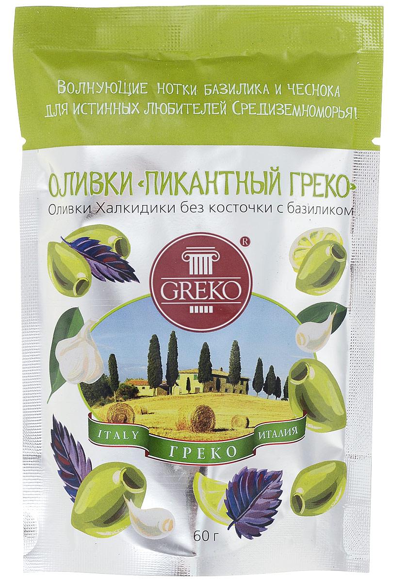 Greko оливки Пикантный Греко сорта Халкидики без косточки с базиликом, 60 г 4607070526001