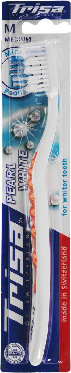 Trisa зубная щётка Перл Вайт средняя, цвет: оранжевыйSC-FM20101Зубная щетка Trisa Pearl White - щетина средней степени жесткости - произведена в Швейцарии в соответствии с новейшими научными разработками. Единственная в своем роде волнистая форма зубной щетки TRISA Pearl White обеспечивает прекрасное сцепление. Эргономичная ручка с мягкой волнистой структурой обеспечивает абсолютный комфорт и оптимальный контроль – точку опоры для большого пальца можно выбрать индивидуально. Отбеливающие щетинки с голубыми очищающими микро - жемчужинами способствуют удалению дисколорита (изменения цвета зуба), для безупречной, жемчужно-белой улыбки. Головка щетки с волнообразным «активным контуром» подстраивается под естественный профиль зубов. Перламутровая ручка придает TRISA Pearl изысканный вид. Разноуровневая щетина - для эффективного удаления налета даже в труднодоступных межзубных промежутках. Активный выступ - для чистки труднодоступных коренных зубов. Гибкий корпус регулирует давление при чистке. Элегантный функциональный дизайн.