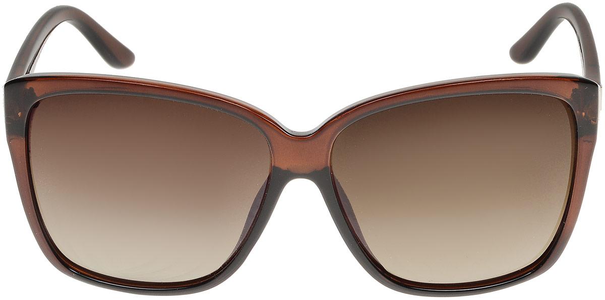 Очки солнцезащитные женские Модные истории, цвет: коричневый. 7/0025/058KL156col.11v2Стильные солнцезащитные очки Модные истории сделают приятной прогулку в жаркий солнечный полдень. Высокоэффективный встроенный УФ фильтр обеспечивает совершенную защиту от вредных ультрафиолетовых лучей.