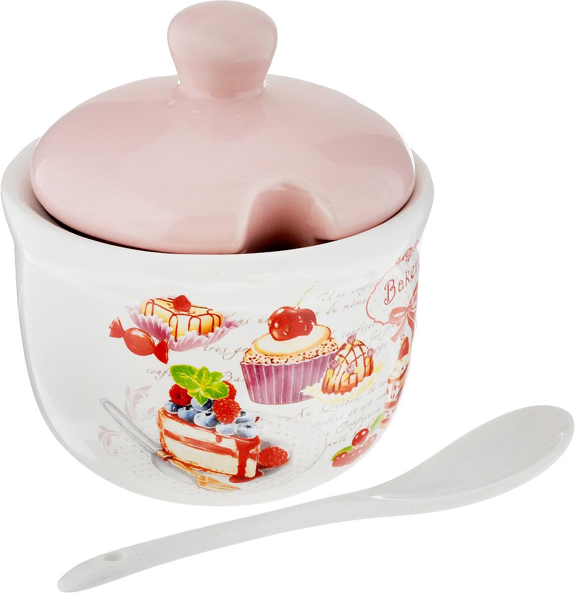 Сахарница ENS Group Бисквит, с ложкой, цвет: розовый, белый, 300 мл, 2 предмета. L3170209115610Сахарница ENS Group Бисквит с крышкой и ложкой изготовлена из керамики и украшена ярким рисунком.Емкость универсальна, подойдет как для сахара, так и для специй или меда. Высота (без учета крышки): 7 см.Высота (с крышкой): 10,5 см.