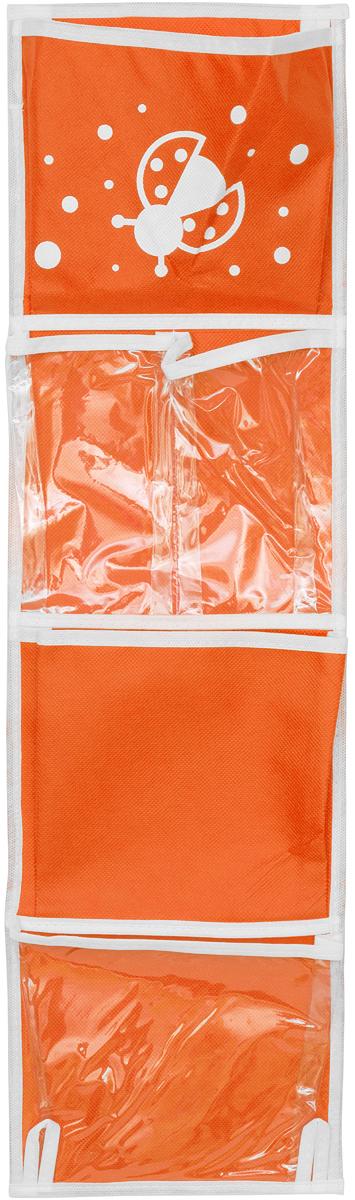 """Карманы подвесные Все на местах """"Божья коровка"""", для шкафчика в детский сад, цвет: оранжевый, 5 карманов, 73 x 20 см 1010003"""
