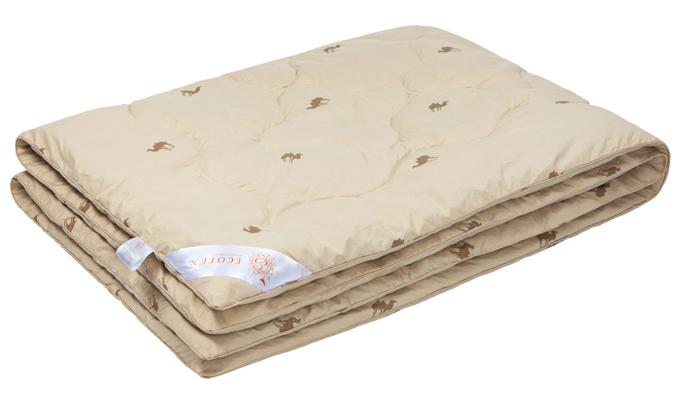 Одеяло Ecotex Караван, наполнитель: верблюжья шерсть, цвет: светло-бежевый, 140 х 205 смОВТ1- сухое тепло: комфортный температурный режим в любое время года; - целебные свойства; - высокое содержание ланолина, благоприятно воздействующего на кожу, мышцы и суставы; - антистресс: успокаивает, снимает усталость; - экологичность и антистатичность.