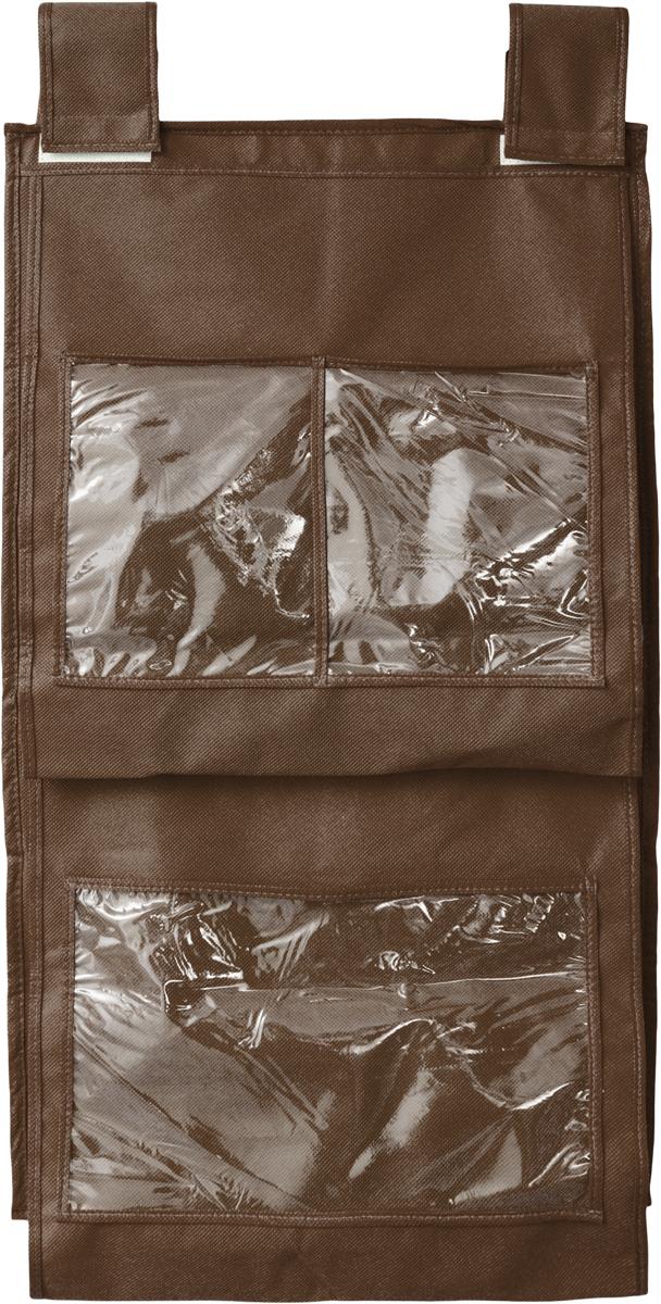 Кофр для сумок и аксессуаров Все на местах Minimalistic, цвет: темно-коричневый, 8 секций, 40 х 70 см10503Кофр для сумок и аксессуаров Все на местах Minimalistic выполнен из спанбонда и ПВХ. Модель крепится на штангу в шкафу или вешалку-плечики. Выделено 8 секций для хранения сумок, клатчей, театральных сумок, кошельков, зонтов, перчаток, палантинов, шарфов, шалей и т.д. Кофр решает проблему компактного хранения сумок и экономит место в шкафу.Размеры: 40 х 70 см.