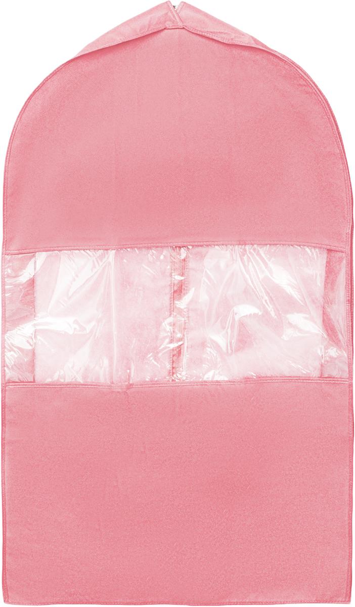 Чехол для костюма Все на местах Minimalistic, цвет: розовый, 100 х 60 х 10 см. 10140081014008.Чехол для костюма Все на местах Minimalistic изготовлен из сочетания спанбонда и ПВХ. Прозрачное окошко значительно облегчает поиск необходимой вещи в гардеробе, а элегантный классический дизайн подойдет к любому гардеробу. Этот чехол для костюма позволит аккуратно переносить любимые вещи, не помяв их и не испачкав во время путешествия. В верхней части чехла есть отверстие для вешалки. Застегивается чехол на прочную молнию. Материал: спанбонд, ПВХ. Размеры: 130 х 60 х 10 см.