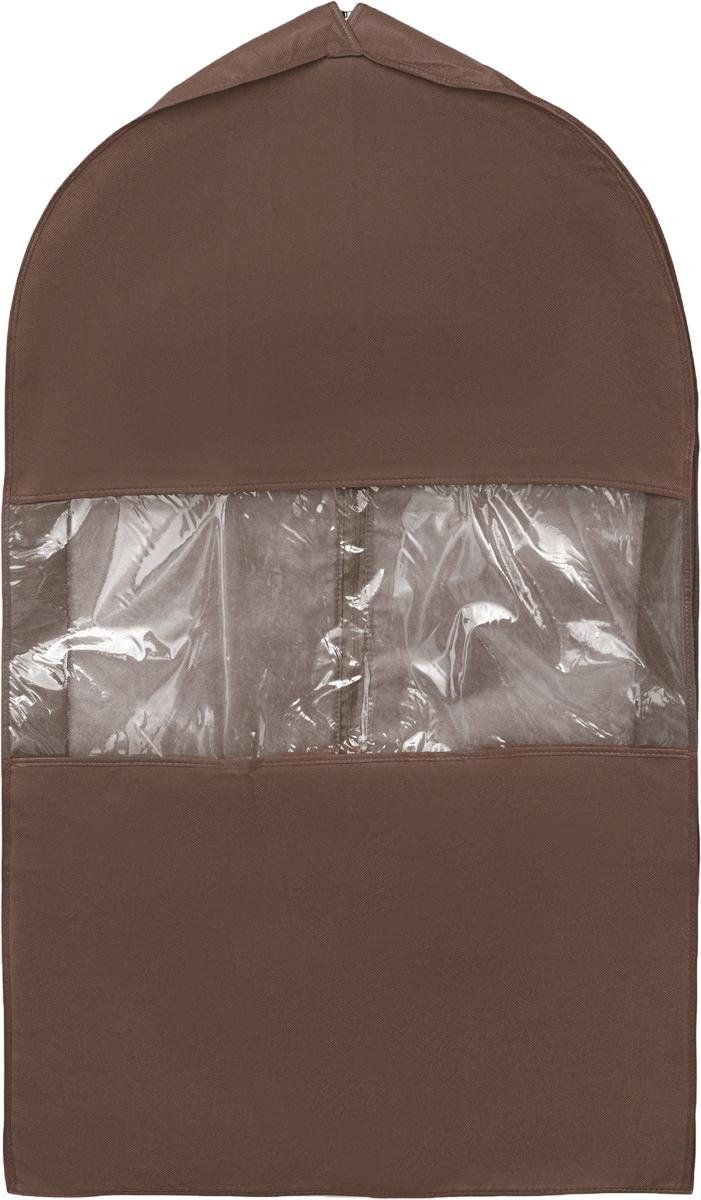 Чехол для костюма Все на местах Minimalistic, цвет: темно-коричневый, 100 х 60 х 10 см1015008.Чехол для костюма Все на местах Minimalistic изготовлен из сочетания спанбонда и ПВХ. Прозрачное окошко значительно облегчает поиск необходимой вещи в гардеробе, а элегантный классический дизайн подойдет к любому гардеробу. Этот чехол для костюма позволит аккуратно переносить любимые вещи, не помяв их и не испачкав во время путешествия. В верхней части чехла есть отверстие для вешалки. Застегивается чехол на прочную молнию. Материал: спанбонд, ПВХ. Размеры: 130 х 60 х 10 см.