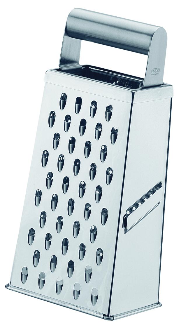 Терка Gefu, четырехсторонняя, 10,9 х 8,2 х 23,7 см10750Терка оснащена двухсторонним лезвием для удобства нарезки в обоих направлениях. Удобная металлическая ручка. Может использоваться для мелкой, крупной тёрки и для тёрки картофеля. Можно мыть в посудомоечной машине. Габариты: 10.9x8.2x23.7 см Срок годности не ограничен.