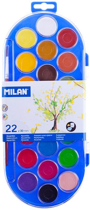Milan Акварель 22 цвета с кистью80022Краски представлены в компактных круглых таблетках. Светоустойчивы, изготовлены из нетоксичных пигментов