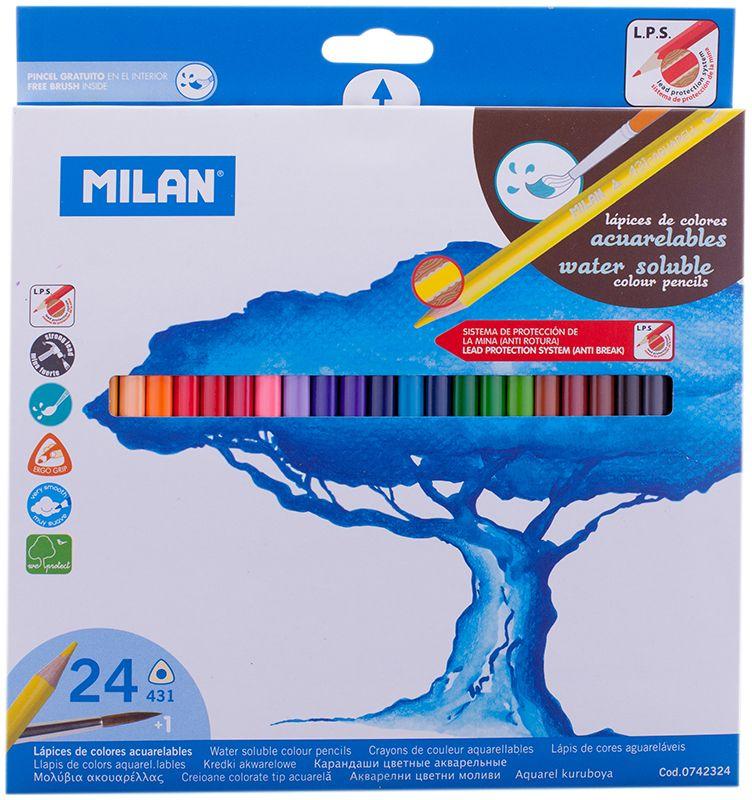 Milan Набор акварельных карандашей 431 24 цветаPP-001Набор цветных акварельных карандашей с кистью. В картонной упаковке 24 карандашей. Яркие цвета, мягкий грифель. Материал - дерево, трехганный корпус. Хорошо точатся. Упаковка с европодвесом.