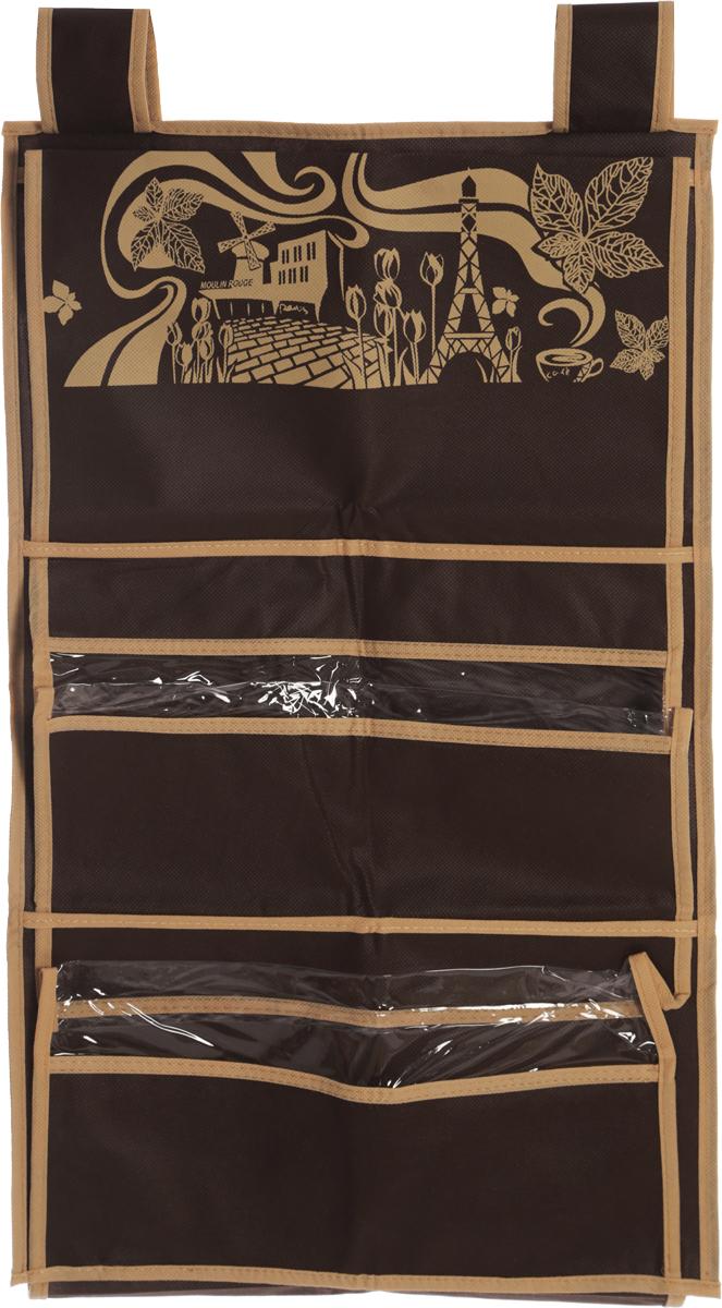 Кофр для сумок и аксессуаров Все на местах Париж, цвет: темно-коричневый, бежевый, 8 секций, 40 х 70 см531-401Кофр для сумок и аксессуаров Все на местах Париж выполнен из спанбонда и ПВХ. Модель крепится на штангу в шкафу или вешалку-плечики. Выделено 8 секций для хранения сумок, клатчей, театральных сумок, кошельков, зонтов, перчаток, палантинов, шарфов, шалей и т.д. Кофр решает проблему компактного хранения сумок и экономит место в шкафу.Размеры: 40 х 70 см.