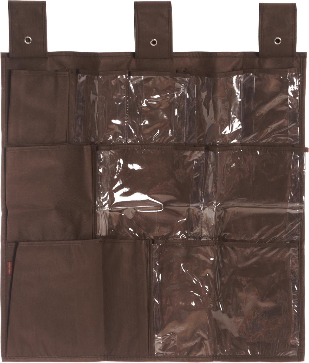 Органайзер для мелочей Все на местах Minimalistic, подвесной, цвет: коричневый, 10 карманов, 56 x 56 см531-401Подвесной органайзер Все на местах Minimalistic, изготовленный из ПВХ и спанбонда, предназначен для хранения необходимых вещей, множества мелочей в гардеробной, ванной комнате. Изделие оснащено 10 пришитыми кармашками. Крепится органайзер на широкие лямки на липучках.Этот нужный предмет может стать одновременно и декоративным элементом комнаты. Яркий дизайн, как ничто иное, способен оживить интерьер вашего дома. Размер органайзера: 56 х 56 см.