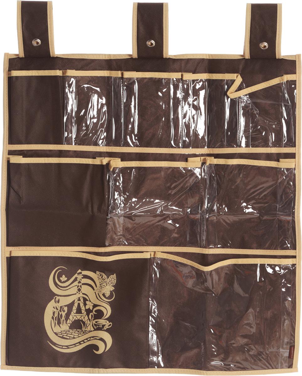 Органайзер для мелочей Все на местах Париж, подвесной, цвет: темно-коричневый, бежевый, 10 карманов, 56 x 56 см1002020.Подвесной органайзер Все на местах Париж, изготовленный из ПВХ и спанбонда, предназначен для хранения необходимых вещей, множества мелочей в гардеробной, ванной комнате. Изделие оснащено 10 пришитыми кармашками. Крепится органайзер на широкие лямки на липучках. Этот нужный предмет может стать одновременно и декоративным элементом комнаты. Яркий дизайн, как ничто иное, способен оживить интерьер вашего дома. Размер органайзера: 56 х 56 см.