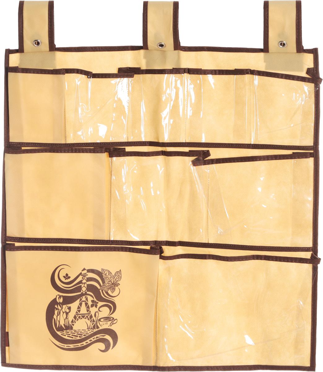 Органайзер для мелочей Все на местах Париж, подвесной, цвет: коричневый, бежевый, 10 карманов, 56 x 56 см1001020.Подвесной органайзер Все на местах Париж, изготовленный из ПВХ и спанбонда, предназначен для хранения необходимых вещей, множества мелочей в гардеробной, ванной комнате. Изделие оснащено 10 пришитыми кармашками. Крепится органайзер на широкие лямки на липучках. Этот нужный предмет может стать одновременно и декоративным элементом комнаты. Яркий дизайн, как ничто иное, способен оживить интерьер вашего дома. Размер органайзера: 56 х 56 см.