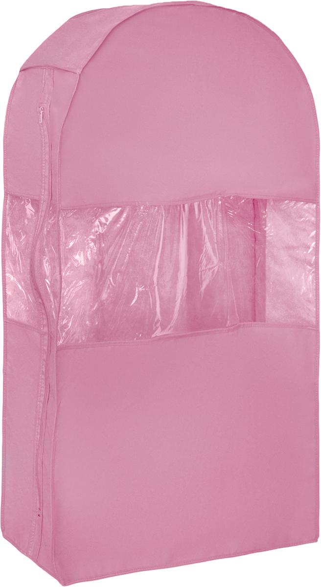 Чехол для шуб Все на местах Minimalistic. Lux, цвет: розовый, 100 х 18 х 58 см1014033.Чехол Все на местах Minimalistic. Lux изготовлен из сочетания спанбонда и ПВХ. Изделие предназначено для хранения шуб. Нетканый материал чехла пропускает воздух, что позволяет изделиям дышать. Благодаря пластиковым вставкам, чехол идеально держит форму и его стенки не соприкасаются с мехом изделия и не приминают его. С таким чехлом шуба надежно защищена от моли, пыли и механического воздействия. Застегивается на застежку-молнию. Материал: спанбонд, ПВХ. Размеры: 100 см х 18 см х 58 см.