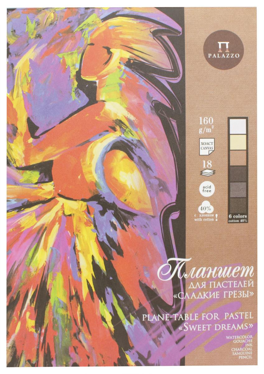 Palazzo Альбом для рисования Сладкие грезы 18 листов ППГ/А496619_желтый/горизонтальныйПланшет Palazzo Сладкие грезы - это альбом с подложкой из плотного картона. Альбом замечательно подходит для художественных техник, таких как, пастель, масляная пастель, мел, карандаш или уголь, сангина. Планшет состоит из 18 листов и 6 цветов пастельной бумаги с жесткой подложкой из переплетного картона. Внутренний блок для удобства проклеен с двух сторон по корешку. Бумага внутреннего блока имеет плотность 160 г/м2, состоит из 40% хлопкового волокна и имеет тиснение Холст с одной стороны.Альбом для рисования Palazzo Сладкие грезы не оставит равнодушным не только ребенка, но и взрослого.