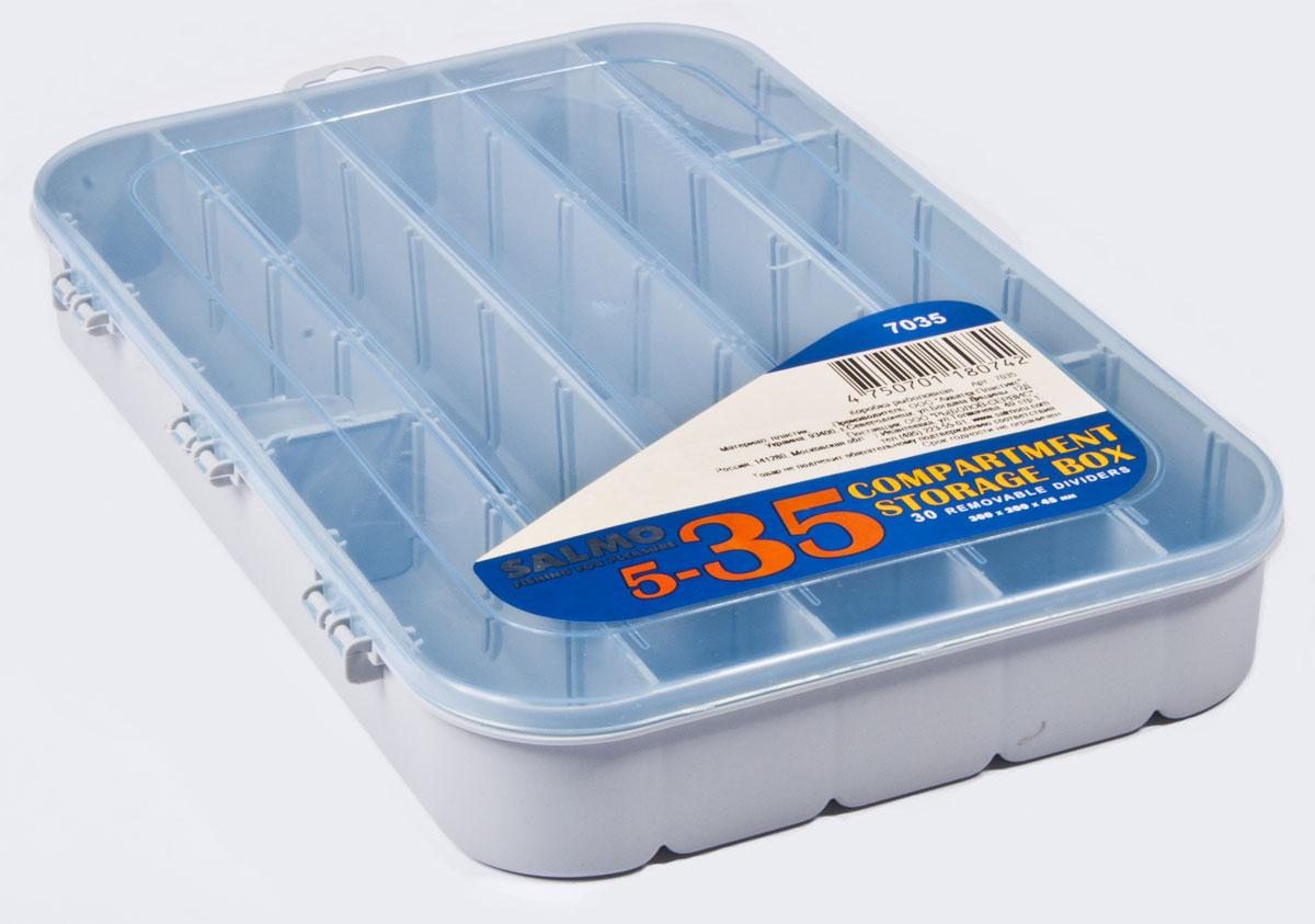 Коробка рыболовная Salmo Allround, универсальная, цвет: голубой, 30 x 20 x 4,7 см7035Большая односторонняя коробочка с отсеками для хранения рыболовных мелочей. 30 съемных перегородок.