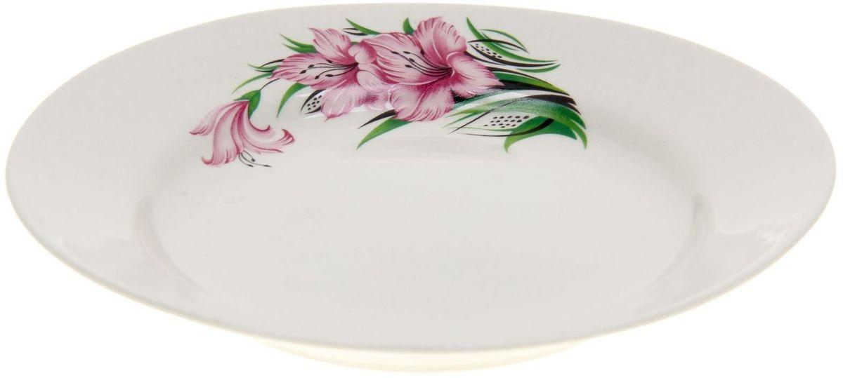 Тарелка Дружковский фарфор Корона. Гладиолус, диаметр 17,5 см1185497Необходимый для любой хозяйки предмет, который сочетает в себе отличное качество и дизайн. Наша посуда станет преданным помощником на Вашей кухне.Покупать у нас просто – Вы заказываете понравившуюся продукцию, а мы доставляем Вам её в любое место!