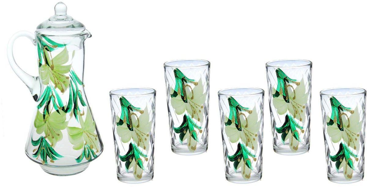 Набор Хрустальный звон: стакан Ода, 200 мл, 6 шт + кувшин, 1,2 л. 11937141193714Возможно ли сделать так, чтобы в доме всегда царила по-настоящему летняя атмосфера? Набор питьевой Нежный гиппеаструм, 7 предметов: кувшин 1,2 л, 6 стаканов 200 мл, рисунок МИКС поможет вам приблизиться к заветной мечте! Высококачественное прозрачное стекло, нежные оттенки и изящный рисунок преобразят окружающее пространство, а утолять жажду станет ещё приятнее! Кроме того, стеклянная посуда обладает рядом практических достоинств: термостойкостью, экологичностью и прочностью. Именно этим объясняются преимущества предметов набора: возможность обработки в СВЧ-печи, пригодность к мойке в посудомоечной машине, экологическая безопасность материала. Не рекомендуется: помещать посуду на открытый огонь и в морозильную камеру, допускать падение посуды с большой высоты. В набор входят 7 предметов: Кувшин 1,2 л — 1 шт., Стакан 200 мл — 6 шт. Набор станет украшением как кухни, так и праздничного стола. Вы точно будете знать, в чём подавать компоты, морс или домашнее вино. Уют дома — в...